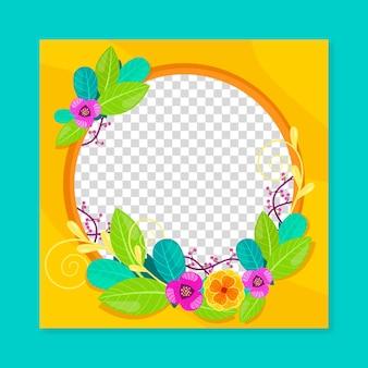 Organiczna płaska kwiatowa ramka na facebooka