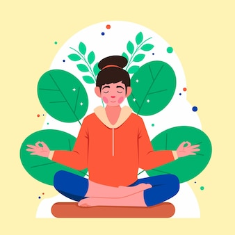 Organiczna płaska osoba medytująca spokojnie