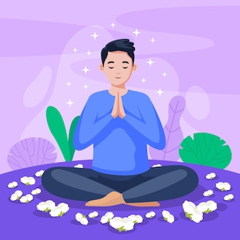 Organiczna płaska osoba medytująca w pozycji lotosu
