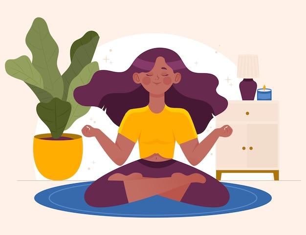 Organiczna płaska osoba medytująca