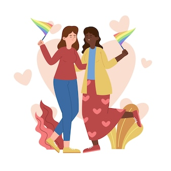 Organiczna płaska para lesbijek ilustracja z flagą lgbt