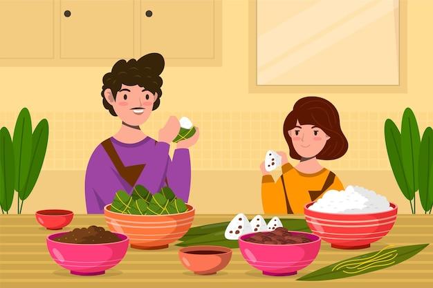 Organiczna płaska smocza łódź ilustracja z rodziną przygotowującą i jedzącą zongzi