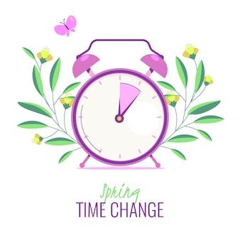 Organiczna płaska wiosna czas zmienia ilustrację z zegarem i motylem