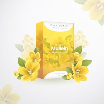 Organiczna reklama herbaty ziołowej dziewanny
