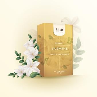 Organiczna reklama jaśminowej herbaty ziołowej