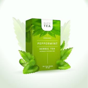 Organiczna reklama miętowej herbaty ziołowej