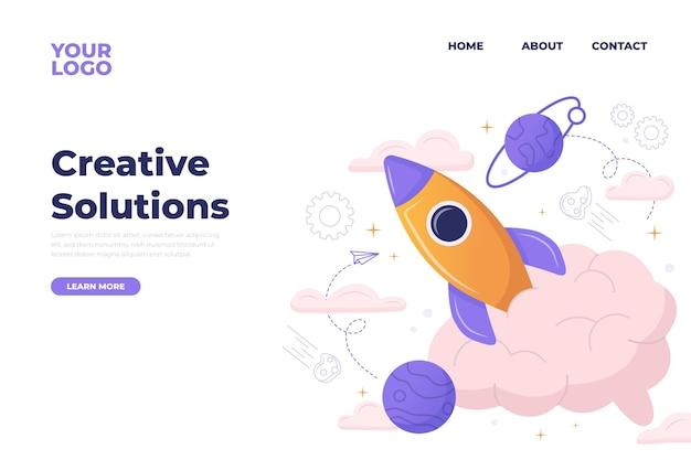 Organiczna strona docelowa płaskich kreatywnych rozwiązań