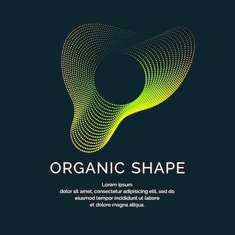 Organiczne formy z dynamicznymi falami i liniami na ciemnym tle. ilustracji wektorowych.