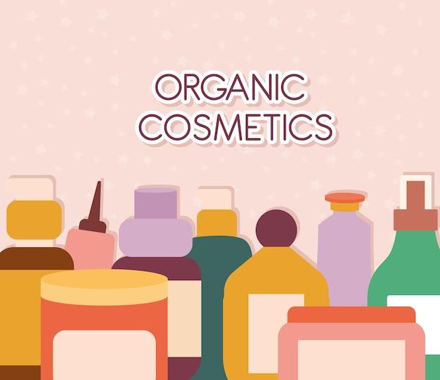 Organiczne kosmetyki napis z zestawem ikon organicznych kosmetyków