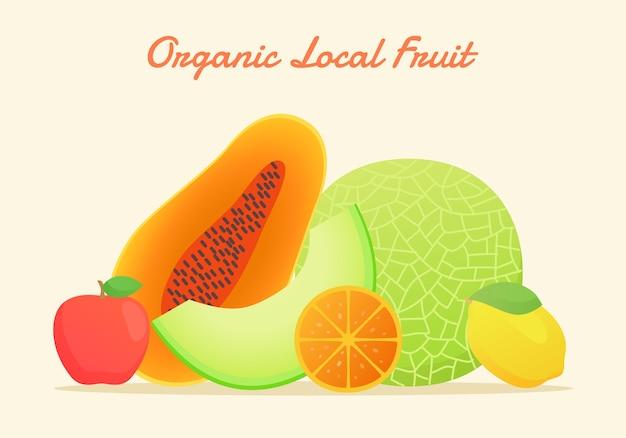 Organiczne lokalne owoce w stylu płaskich kolorów