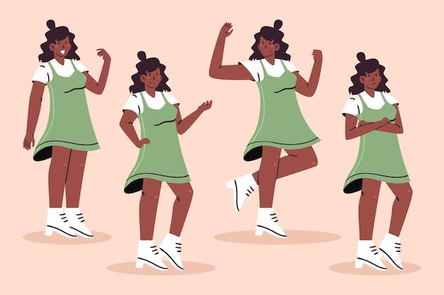 Organiczne mieszkanie czarna dziewczyna w różnych pozach opakowanie