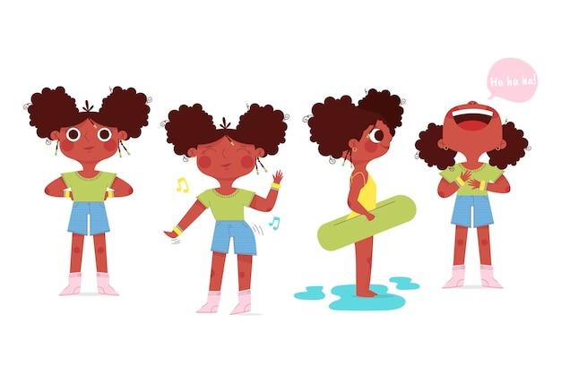 Organiczne mieszkanie czarna dziewczyna w różnych pozach