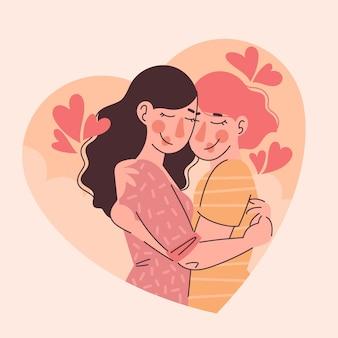 Organiczne mieszkanie ilustracja para lesbijek