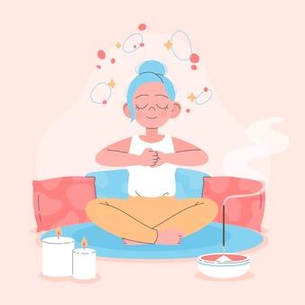 Organiczne mieszkanie kobieta medytuje