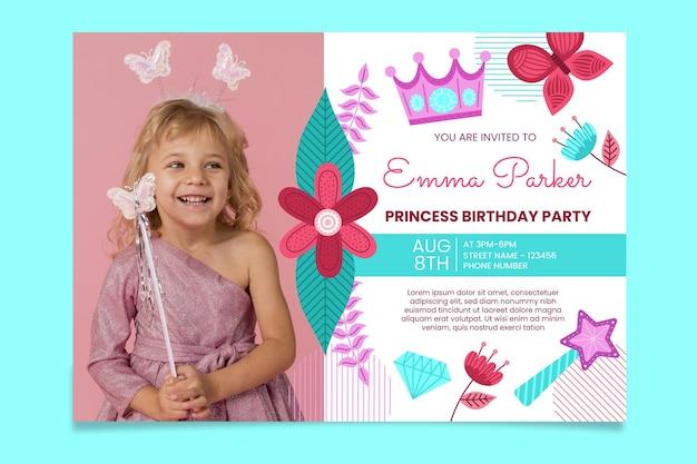 Organiczne mieszkanie księżniczki zaproszenie na urodziny