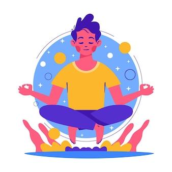Organiczne mieszkanie ludzie medytujący ilustracja