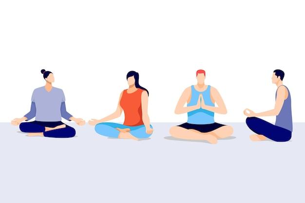 Organiczne mieszkanie ludzie medytujący spokojnie
