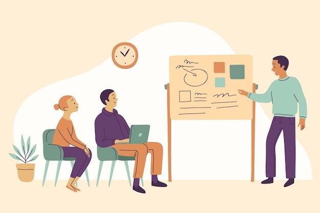 Organiczne mieszkanie ludzie na ilustracji szkolenia biznesowe