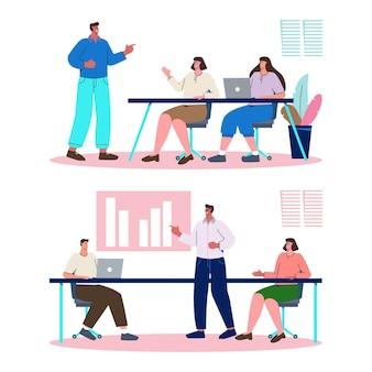 Organiczne mieszkanie ludzie na ilustracji szkolenia biznesowego