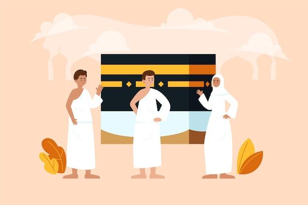 Organiczne mieszkanie ludzie w pielgrzymce ilustracja hadżdż