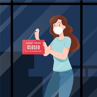 Organiczne mieszkanie ludzie wieszają zamknięty szyld