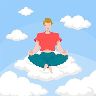 Organiczne mieszkanie mężczyzna medytuje na chmurze