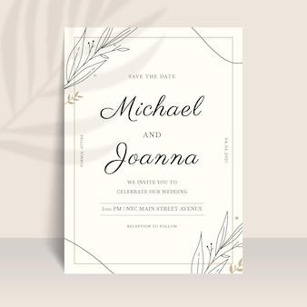Organiczne mieszkanie minimalistyczne zaproszenie na ślub
