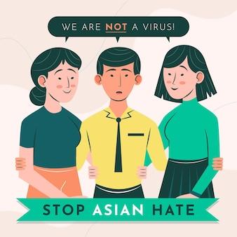 Organiczne mieszkanie stop azjatyckiej nienawiści ilustracja