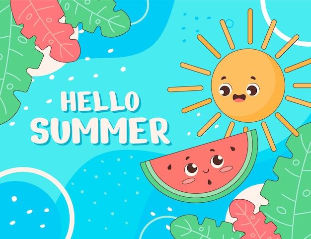 Organiczne mieszkanie witaj lato ilustracja