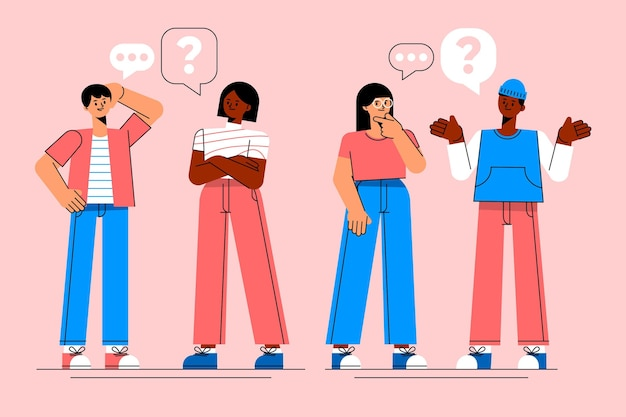 Organiczne płaska konstrukcja ludzi zadających pytania