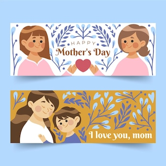 Organiczne płaskie banery dzień matki zestaw