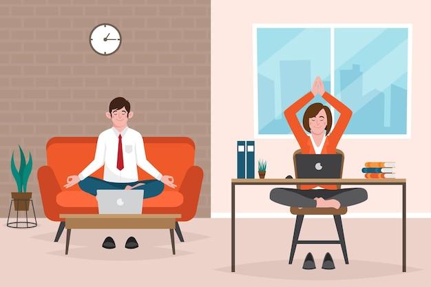 Organiczne płaskie biznesmeni medytujący