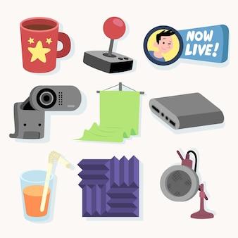 Organiczne płaskie elementy koncepcyjne gry streamer