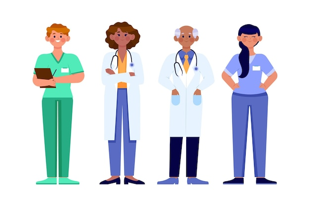 Organiczne płaskie ilustracja lekarze i pielęgniarki