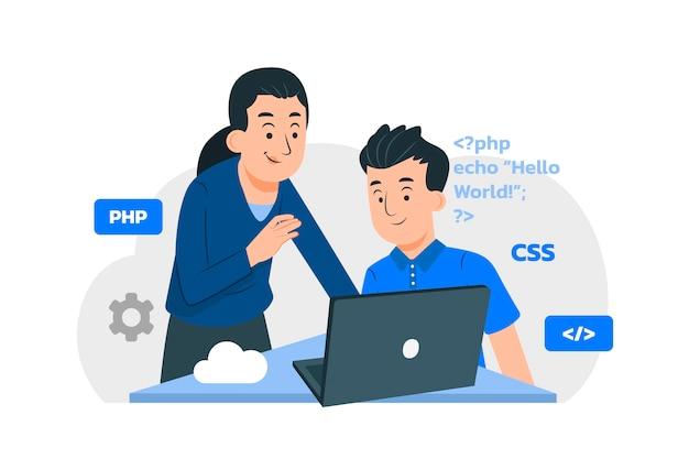 Organiczne płaskie ilustracja programowania komputerowego
