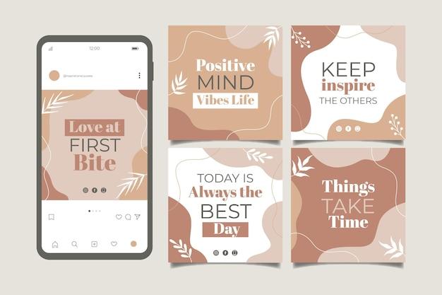 Organiczne płaskie inspirujące cytaty kolekcja postów na instagramie