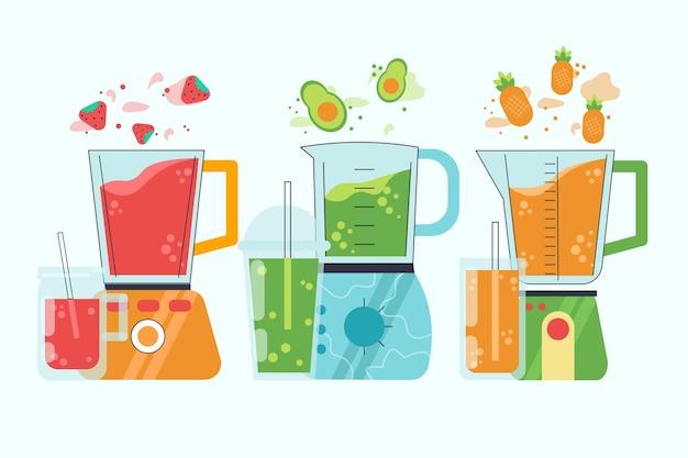 Organiczne płaskie koktajle w ilustracji szkła blendera