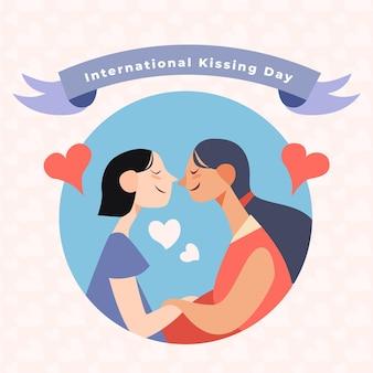 Organiczne płaskie międzynarodowe całowanie dzień ilustracja z parą lesbijek