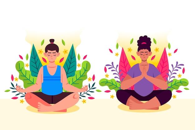 Organiczne płaskie osoby medytujące razem