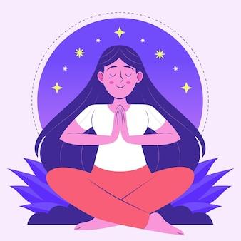 Organiczne płaskie osoby medytujące