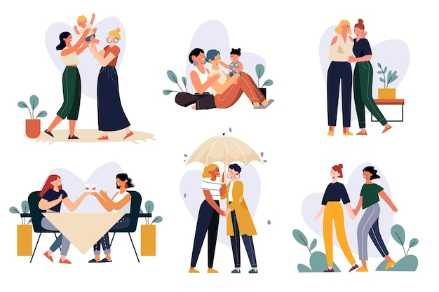 Organiczne płaskie sceny lesbijek para