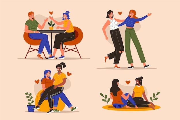 Organiczne płaskie sceny lesbijek