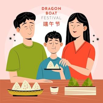 Organiczne płaskie smocze łodzie rodziny przygotowują i jedzą ilustrację zongzi