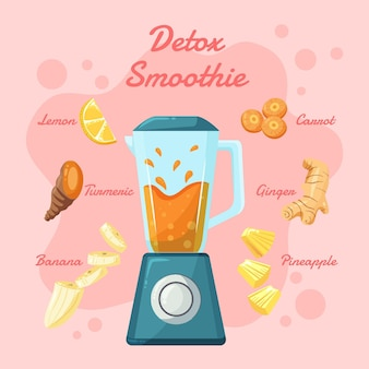 Organiczne płaskie smoothie detoksykacyjne w szklanym blenderze