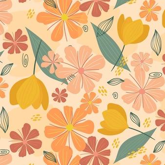 Organiczne płaskie streszczenie kwiatowy wzór