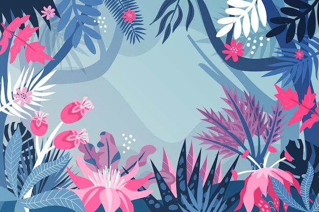 Organiczne płaskie tło dżungli z egzotycznymi kwiatami