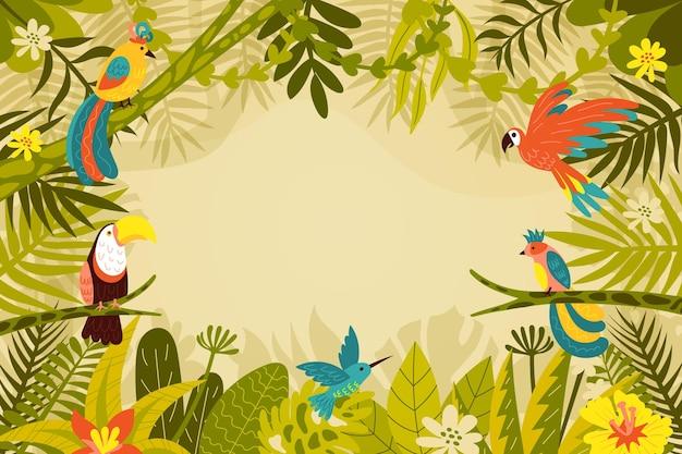 Organiczne płaskie tło dżungli z egzotycznymi ptakami