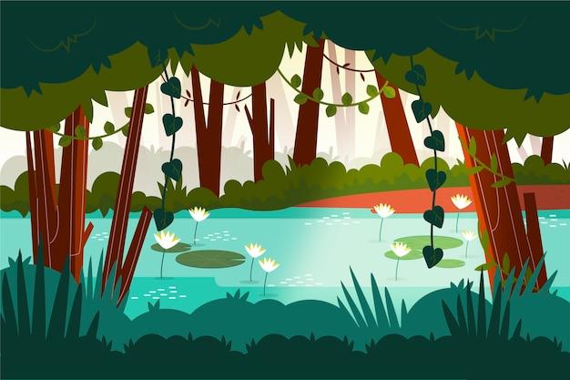Organiczne płaskie tło dżungli z lilią wodną