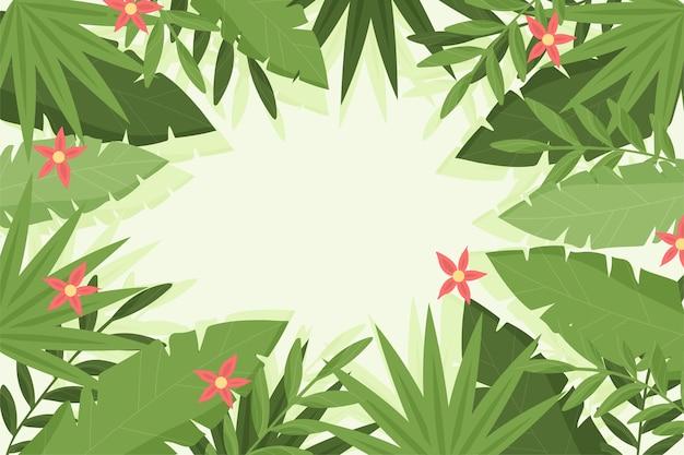 Organiczne płaskie tropikalne liście tło