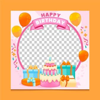 Organiczne płaskie urodziny ramki na facebooku